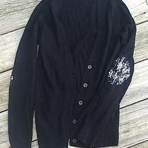 Express Black Sequin Elbow Patch Cardigan Size Small Photo