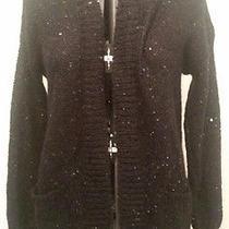 Express Black Sequin Knit Women's Medium Long Sleeve Open Sweater Photo