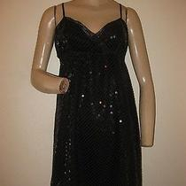 Express Black Sequin Lace Tank Strap Baby Doll Cocktail Club Dress S/m Size 8 Photo