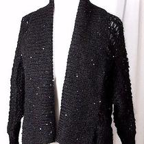 Express Black Sequins Loose Knit Open Front Dolman 3/4sleeve Sweater Cardigan M Photo