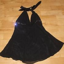 Express Black Sheer Silk Halter Dress With Squinslined Size Mnwt Photo