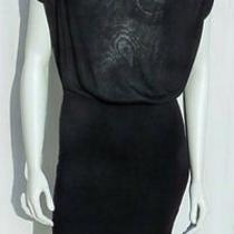 Express Black Stretch Rayon Fine Sweater Knit Draped Neck Dress Size M Photo