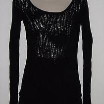 Express Black Super Soft Thin Eyelet Knit Long Sleeve Scoop Neck Sweater Small Photo
