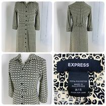 Express Black Tan Geometric Dress Size 3/4 Button Up With Belt Great Condition Photo