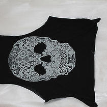 Express Black Tank Top With White Lace Skull Size Xs Photo