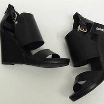 Express Black Two Piece Vamp Wedge Sz 7 Photo