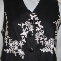 Express Black Vest With Creme Embroidery Size Sz S Photo