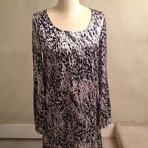 Express Black White Gray Dress Size S Silk Blend Long Sleeve Photo