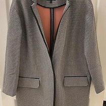 Express Black White Long Sleeve One-Button Faux Leather Trim Coat Size Medium Photo