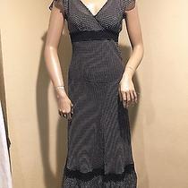 Express Black & White Polka Dot Silk Dress W/lace Detail Sz 1-2 Photo