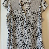 Express Black White Spotted Dot Blouse Cap Sleeve Top  Xs Worn 1x Photo