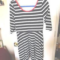 Express Black & White Striped Dress W/red Trim - M Photo
