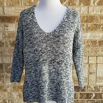 Express Black White Sweater Criss Cross Back Size Small  Photo