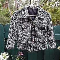 Express Black White Tweed Crop Blazer Jacket Women's Size 6 Photo