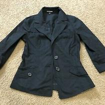 Express Black Womens Buttoned Mid-Sleeve Fitted Blazer Size 2 Light Weight Vguc Photo