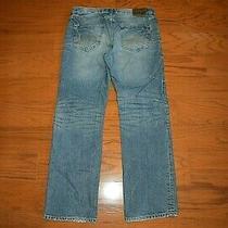 Express - 'Blake' Loose Fit Boot Cut Blue Jeans - Men Size 34 X 34 Photo