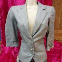 Express Blazer  Blue/white Stripe Jacket Size 8 Button Up / Cuffs Cotton Women Photo