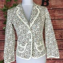 Express Blazer Jacket Size 4 Blue Brown Floral Tulips Career Classic Church Slim Photo