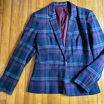 Express Blazer Sz 12 Plaid  Blue Blazer Photo