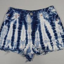 Express Bleus Blue White Tie Dye Denim Distressed Shorts Juniors Size 1/2 Photo