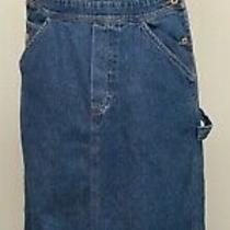 Express Bleus L Blue Cotton Denim Bib Overall Straight Long Dress Authentic Photo