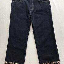 Express Bleus Vintage Crop Jeans Leopard Fringe Size 7 Photo