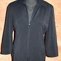 Express Blk Zip-Up Shirt Lite Jacket Sz 9 10 Stretch Tapered Hem 3/4 Slvs Photo