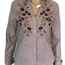 Express Blouse Brown Striped Stretch Embroidered Buttoned Cuff Long Sleeves Sz 4 Photo