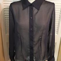Express Blouse Top Size 11/12 Sheer Button Front Long Sleeves Photo