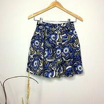 Express Blue and White Skater Mini Skirt With Pockets - Size 00 Photo