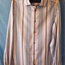 Express Blue and White Stripes French Cuff Dress Shirt Small 14 1/2 34 Modern Fi Photo