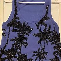 Express Blue Black Sequin Palm Tree Tank Top Shirt Photo