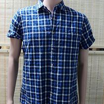 Express Blue Check Casual Summer Shirt Men's Size Medium New Photo