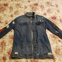Express Blue Denim Embroidered  Flower Patch Jacket Xs/s Photo