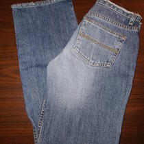 Express Blue Denim Frayed Jeans Pants Low Rise Boot Cut Size 1 / 2 R Photo