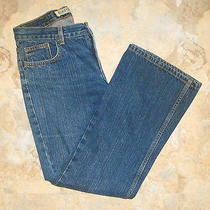 Express Blue Denim Low-Rise Relaxed-Fit Flared Jeans  Size 7/8 Short   31x29 Photo