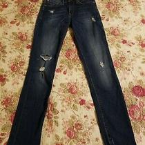 Express Blue  Distressed Mid Rise  Skinny Jeans 0r Photo