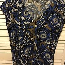Express Blue Floral Print Top Size M With Zipper Detail Short Sleeve Photo