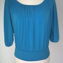 Express Blue Kimono Sleeve Stretch Jersey Top Size S Orig Price 49.50 Photo