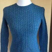 Express Blue Midnight Wool Cashmere Long Sleeve Cable Sweater Size S 4 6 Perfect Photo