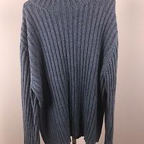 Express Blue Ribbed Mock Neck Long Sleeve Sweater Mens Xxl 100% Cotton Photo