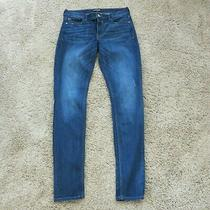 Express Blue Skinny Distressed Jean Legging Size 8 Long Photo