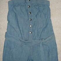 Express Blue Strapless Romper Jumper Short Shorts Cotton Denim Snap Front Size S Photo