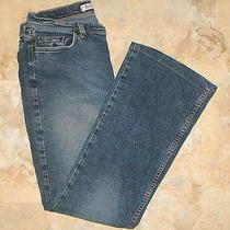 Express Blue Stretch Denim Low-Rise Flared Jeans  Size 9/10  30x29 Photo