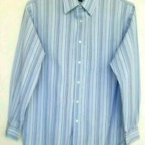 Express Blue Striped Shirt100% Woven Cottonsize Large Photo