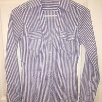 Express Blue Striped v-Neck Button Down Shirt - Size Xsmall Photo
