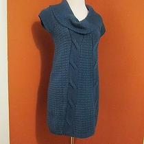 Express Blue Sweater Dress Cowl Neck Cap Sleeve Size S Small Acrylic. Wool  Photo