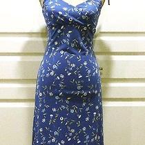 Express Blue & Yellow Floral Print Spaghetti Strap Stretch Summer Dress Size 1/2 Photo
