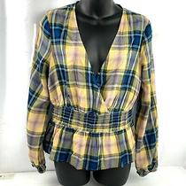 Express Blue Yellow Plaid v Cut Rayon Long Sleeve Top Size Small Nwt Photo