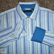 Express Blue & Yellow Stripe Long Sleeve Blue Inner Cuffs Button Down Men's M Photo